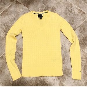 Tommy Hilfiger yellow v neck cable knit sweater xs